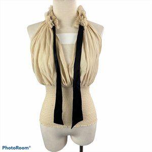 BEBE Cream & Black Blouse With Tie